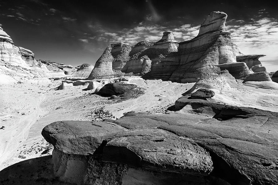 Bisti Badlands Photograph - The Bisti Badlands - New Mexico - Black And White by Jason Politte