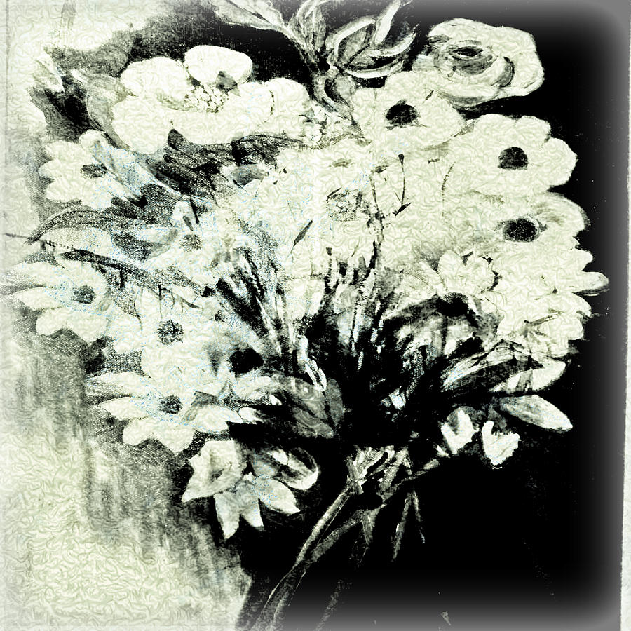 The Black And White Flowers Digital Art By Ronit Kristal