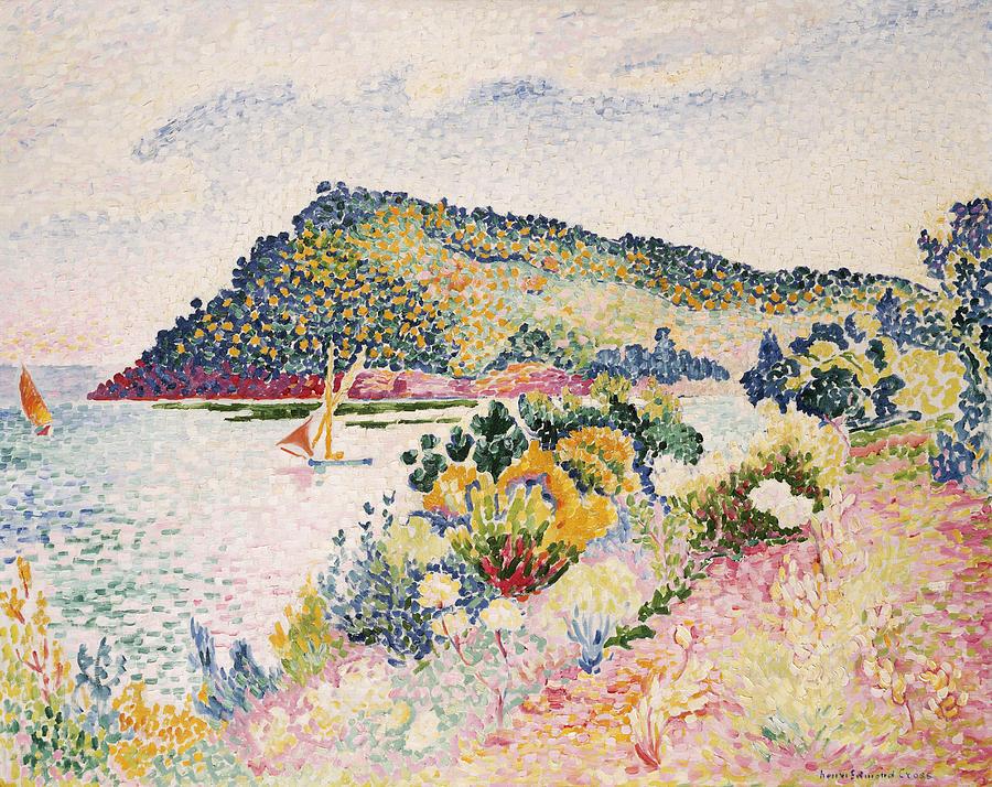 The Black Cape Painting - The Black Cape Pramousquier Bay by Henri-Edmond Cross