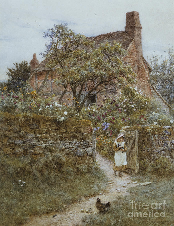English; Landscape; Cottage; Rural; C19th; C20th; Country; Lane; Path; Child; Girl; Female; Victorian; Gateway Painting - The Black Kitten by Helen Allingham