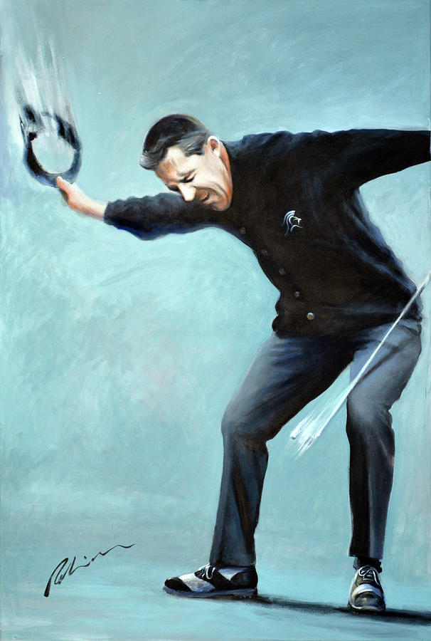 Gary Player Painting - The Black Knight by Mark Robinson