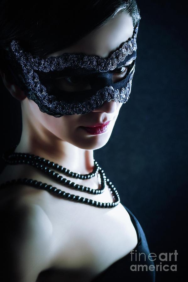Fashion Photograph - The Black Mask Mysterious Woman by Dimitar Hristov