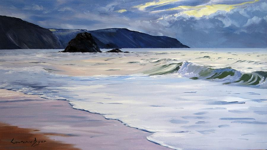 Widemouth Bay Painting - The Black Rock Widemouth Bay by Lawrence Dyer