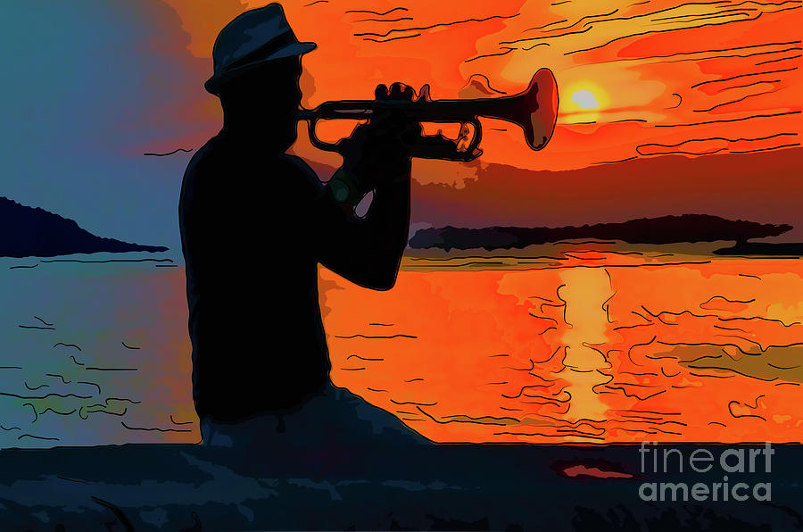 The Black Silhouette Of A Musician Playing On A Trumpet Digital Art