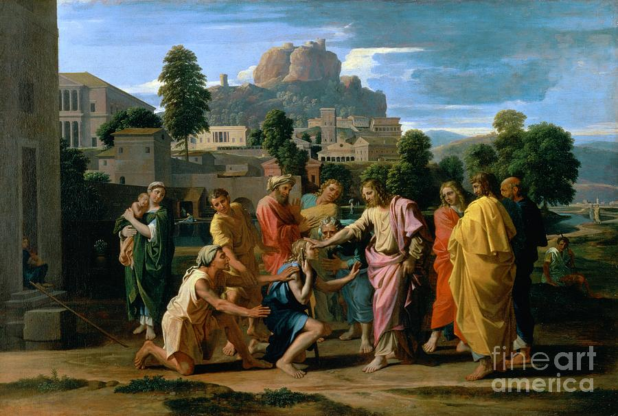 The Painting - The Blind Of Jericho by Nicolas Poussin