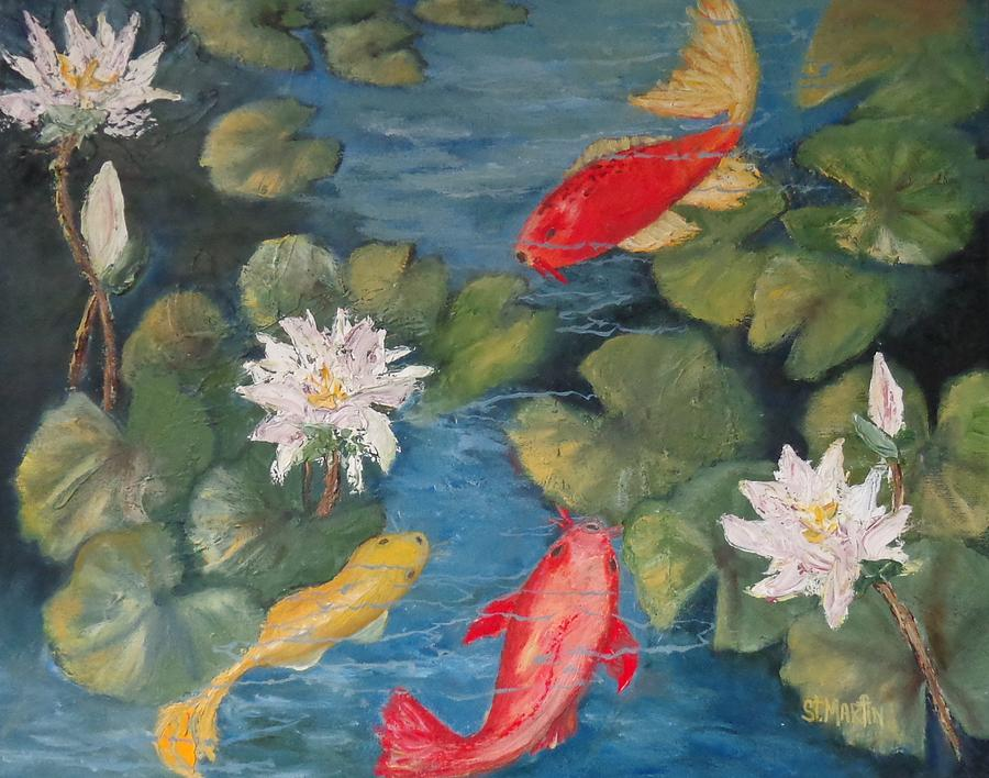 Koi Painting - The Block Party by Annie St Martin