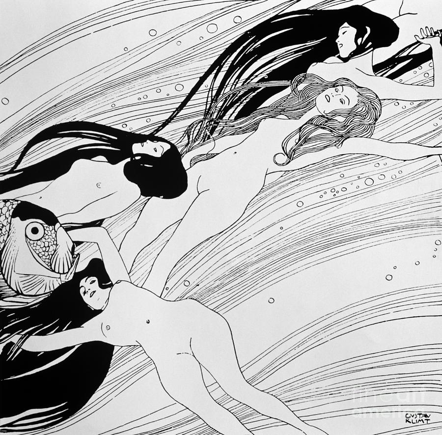 Nudes Drawing - The Blood Of Fish by Gustav Klimt