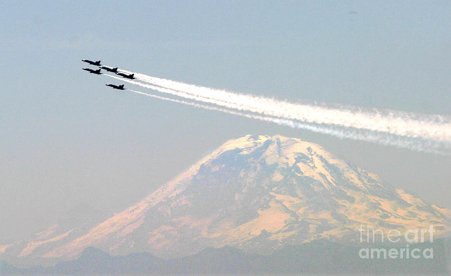 The Blue Angels Over Mount Rainier Seattle Painting