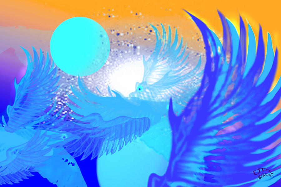 Light Beings Digital Art - The Blue Avians by Ute Posegga-Rudel