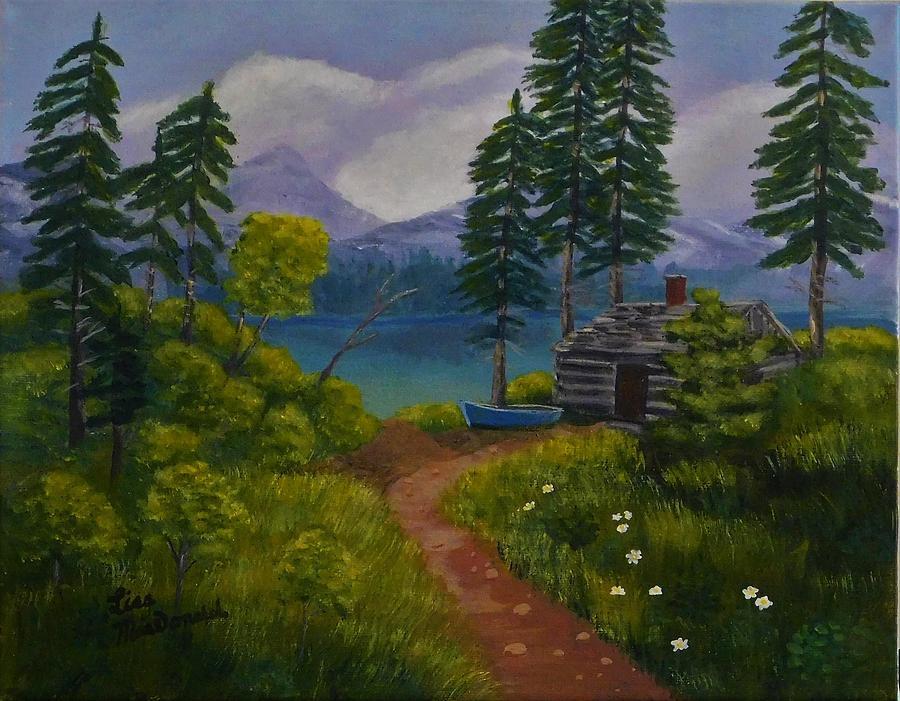 Landscape Painting - The Blue Canoe by Lisa MacDonald