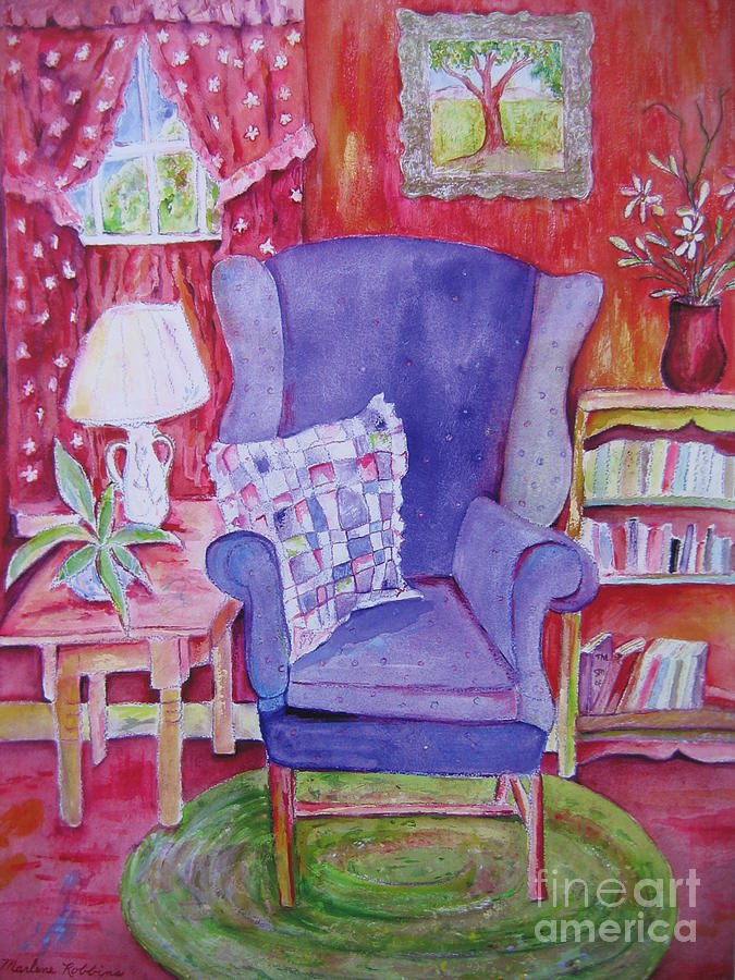 Chair Painting - The Blue Chair by Marlene Robbins