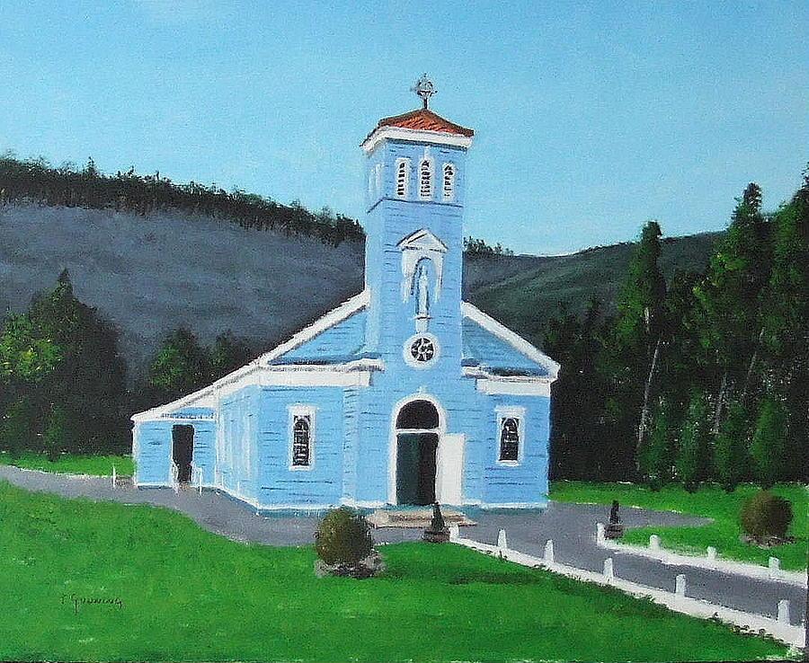 Blue Church Painting - The Blue Church by Tony Gunning