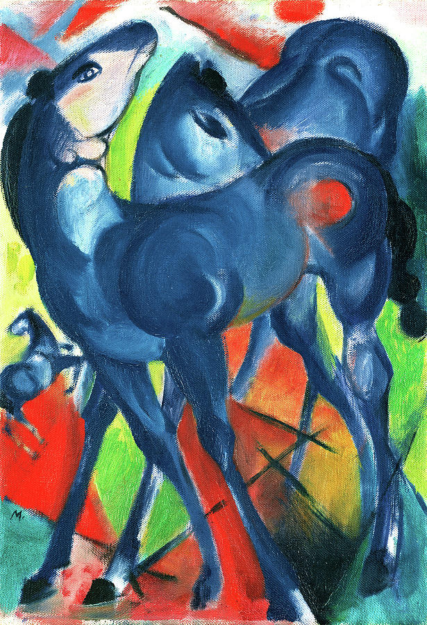 Blue Painting - The Blue Foals Two Blue Foals On A Bright Background by Charlotte Richardson