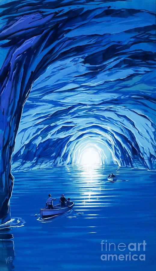 Blue Grotto; Capri; La Grotta Azzurra; Italy; Cave; Sea; Mediterranean; Blue; Colour Painting - The Blue Grotto In Capri By Mcbride Angus  by Angus McBride