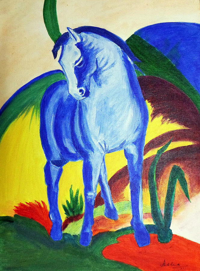 Horse Painting - The Blue Horse Franc Marz by Asha Sudhaker Shenoy