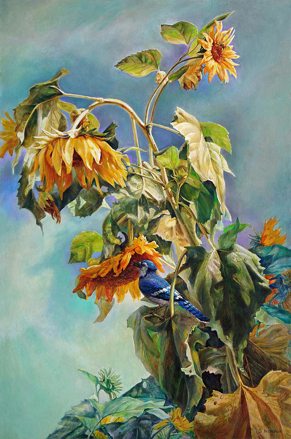 Sunflower Painting - The Blue Jay Who Came To Breakfast by Svitozar Nenyuk