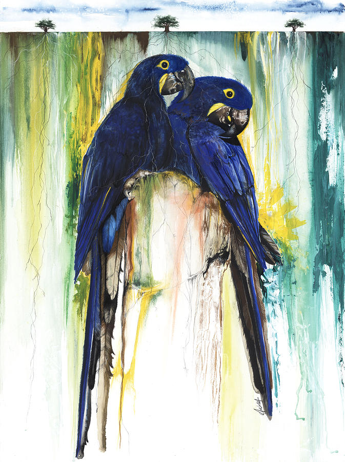 Animals Mixed Media - The Blue Parrots by Anthony Burks Sr