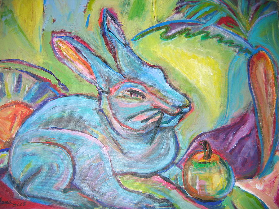 Rabbit Painting - The Blue Rabbit by Marlene Robbins