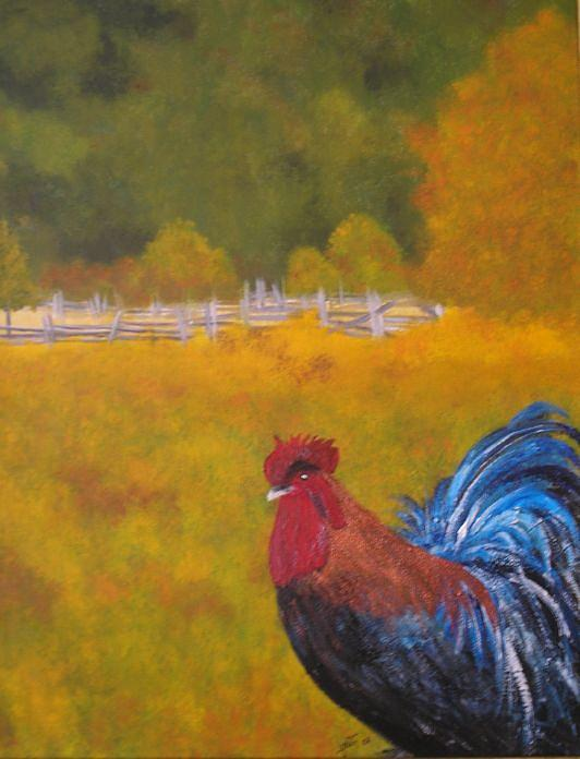 Blue Rooster Painting - The Blue Rooster by Lise-marielle Fortin