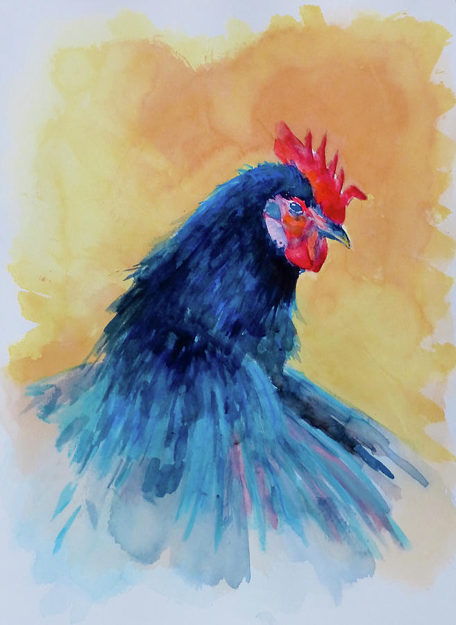 Watercolor Painting - The Blue Rooster by Philip Lodwick Wilkinson