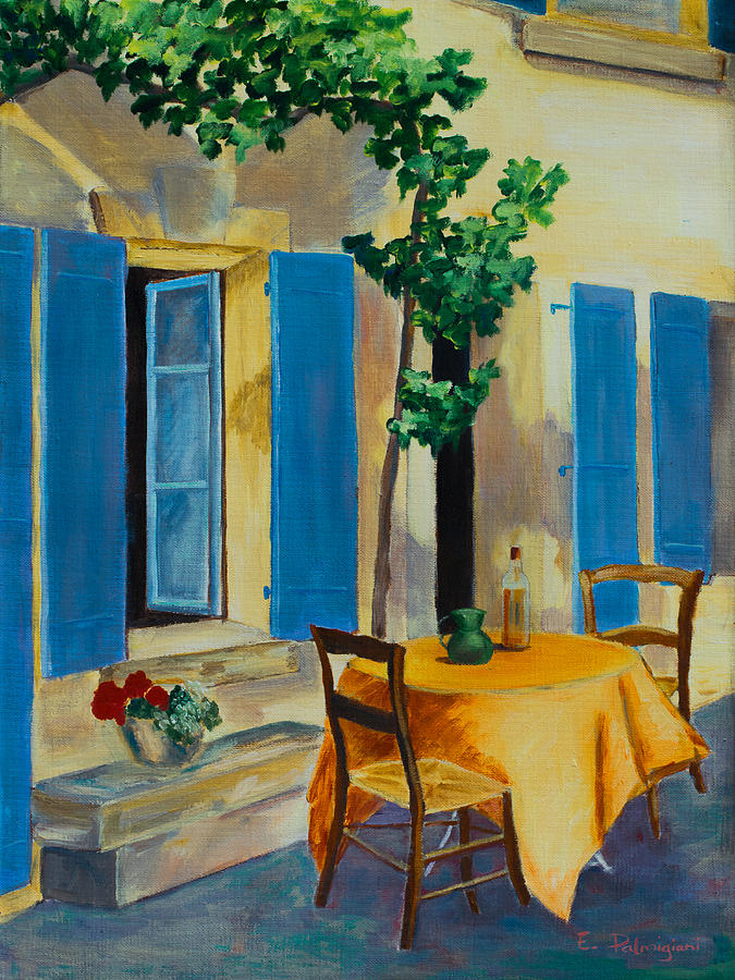 Blue Shutters Painting - The Blue Shutters by Elise Palmigiani