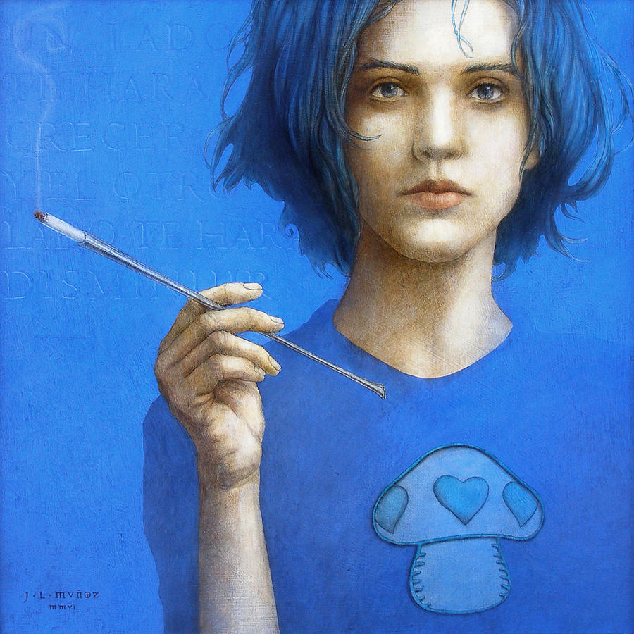 Alicia Painting - The Blue Smoker Caterpillar From Alice In Wonderland by Jose Luis Munoz Luque