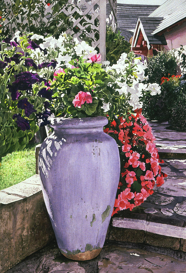 Flowers Painting - The Blue Urn by David Lloyd Glover