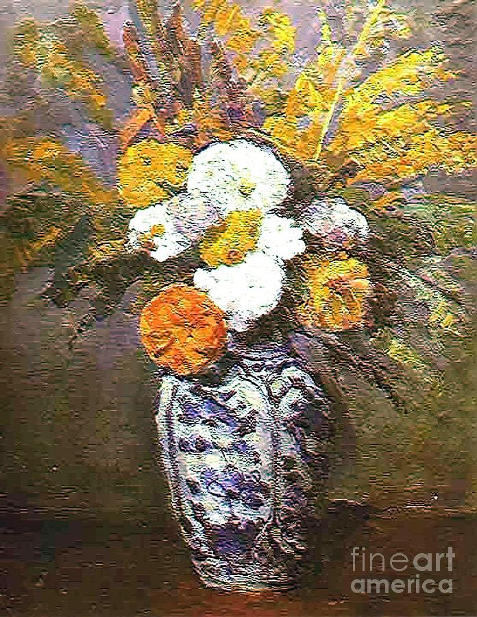 Floral Painting - The Blue Vase by Don Phillips