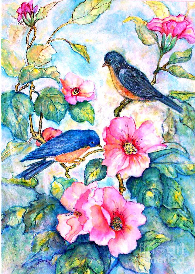 Birds Painting - The Bluebirds Are Back by Norma Boeckler