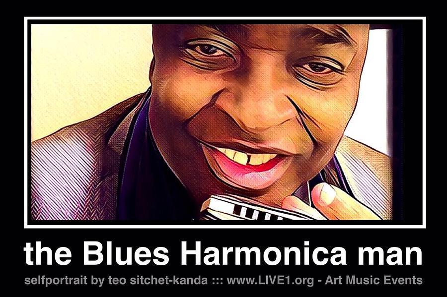 Blues Harmonica Photograph - the Blues Harmonica man by Teo SITCHET-KANDA