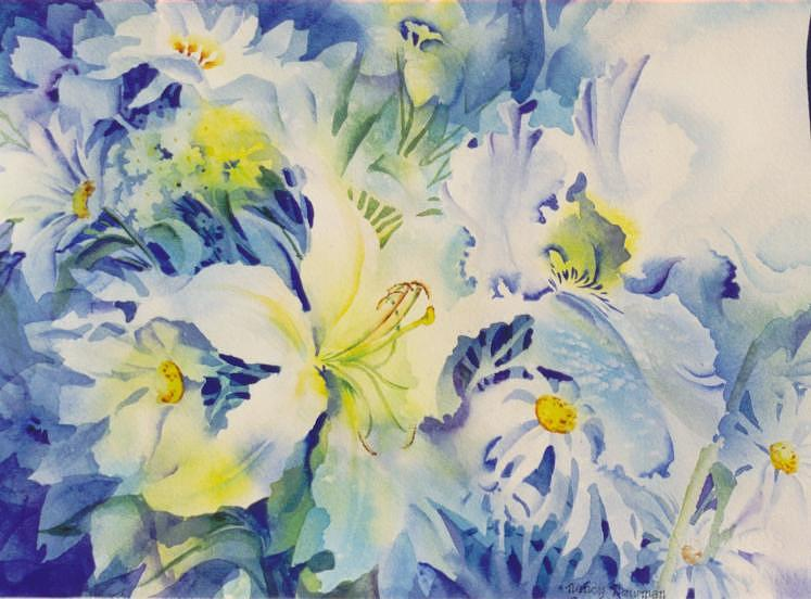 Lily Painting - The-blues by Nancy Newman