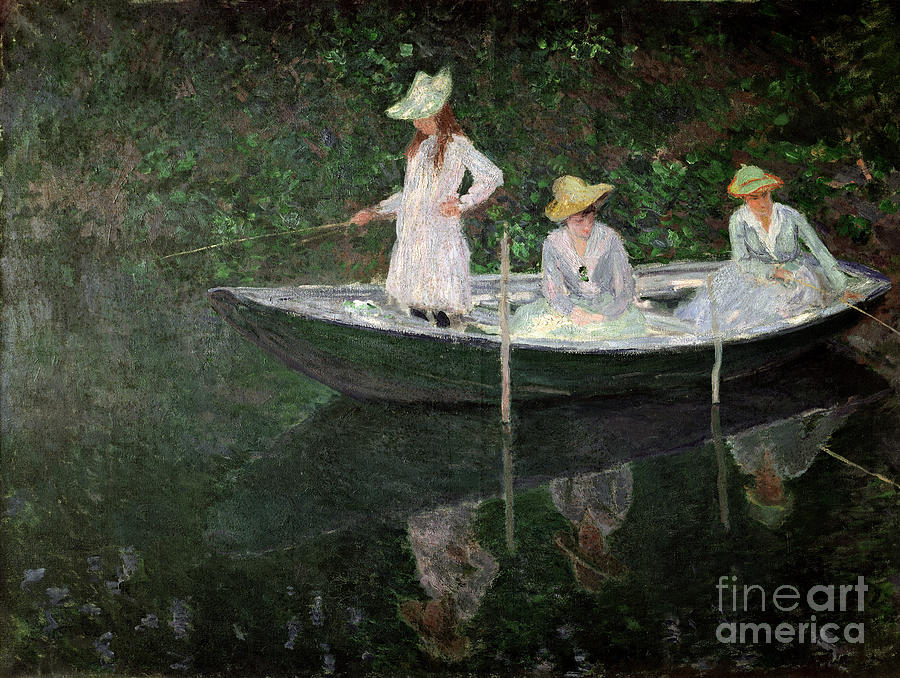 The Painting - The Boat At Giverny by Claude Monet