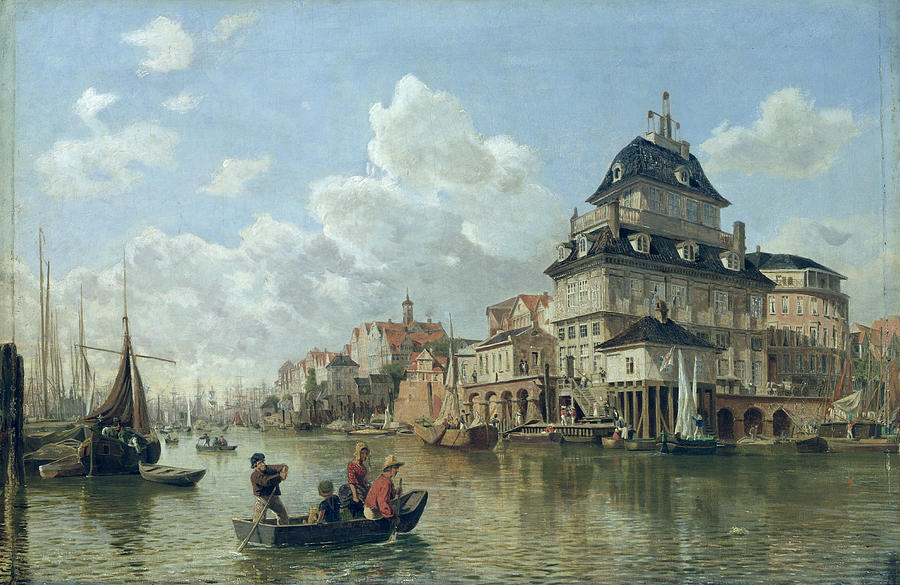 The Painting - The Boat House at Hamburg Harbour by Valentin Ruths