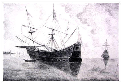 The Boat Drawing - The Boat by Parvinder  Singh