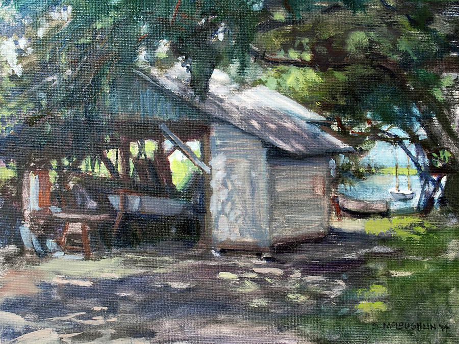 Boathouse Painting - The Boathouse At Historic Spanish Point Park, Osprey, Fl by Shawn McLoughlin