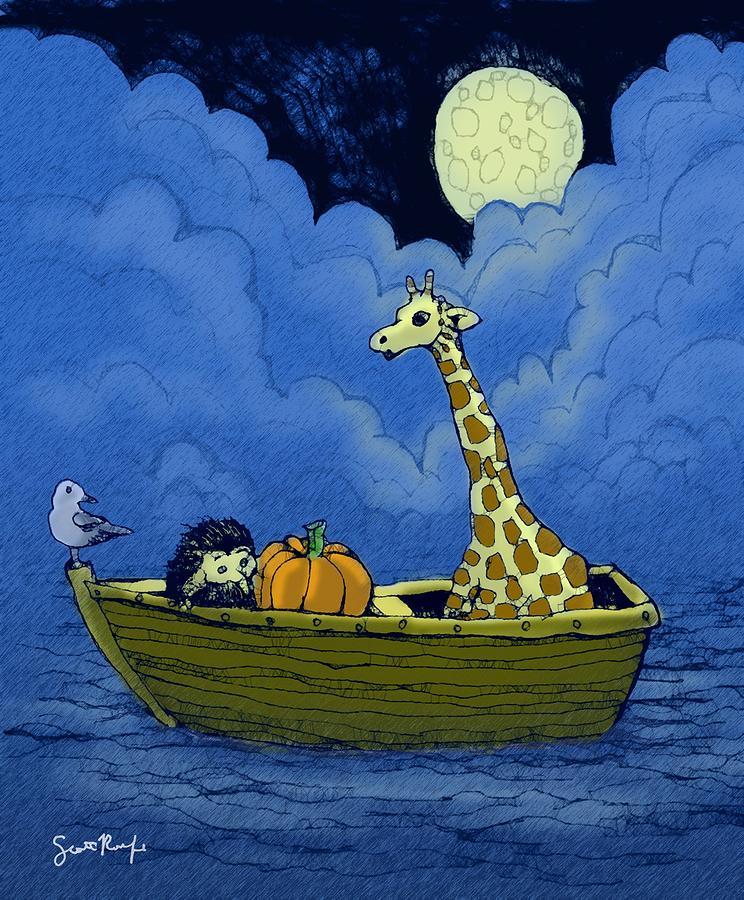 Giraffe Digital Art - The Boatride by Scott Rolfe