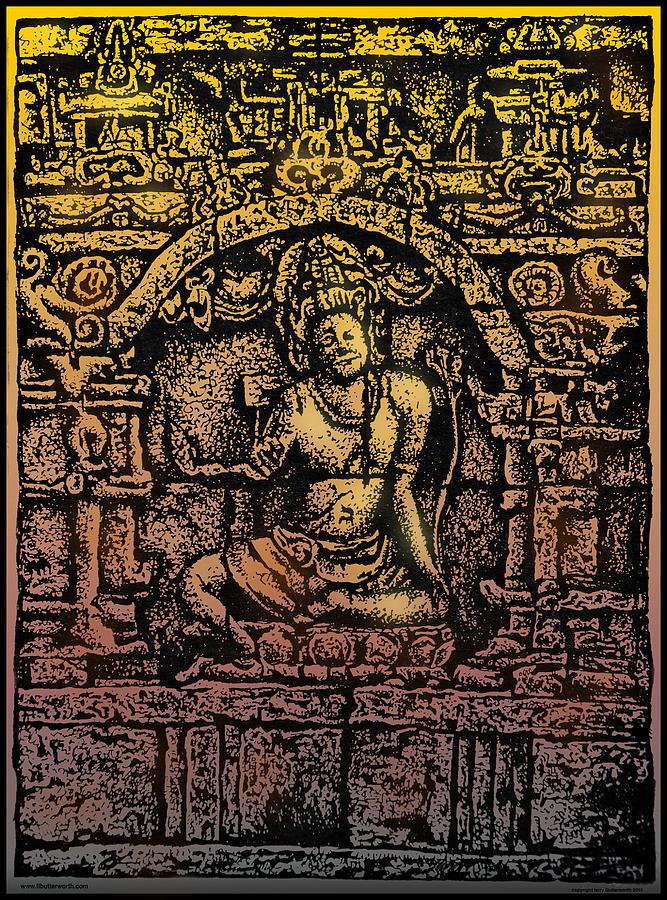 Historical Monument Drawing - The Bodhisattva Samantabhadra Borobudur Java by Larry Butterworth