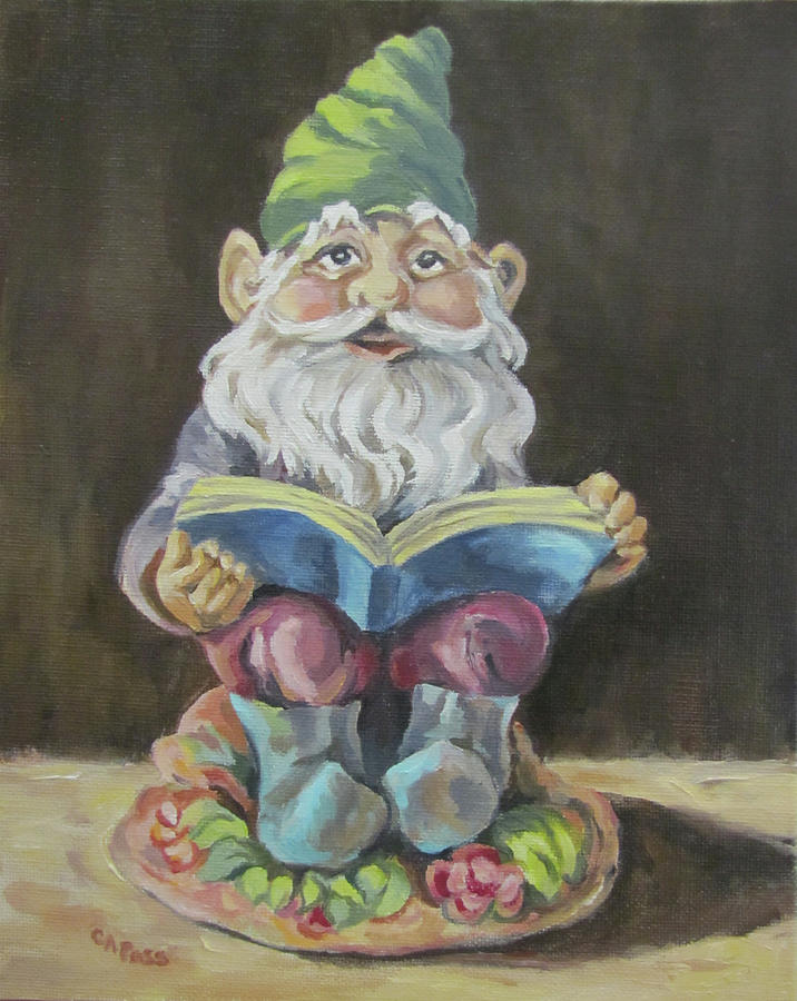 Whimsy Painting - The Book Gnome by Cheryl Pass