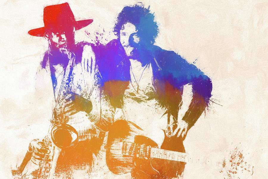 Bruce Springsteen Painting - The Boss And The Big Man by Dan Sproul