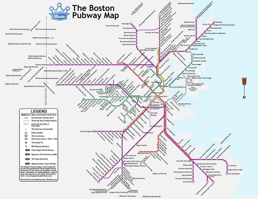 Beer Digital Art - The Boston Pubway Map III by Unquestionable Taste