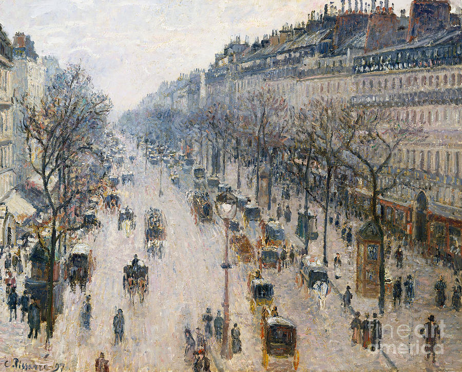 Boulevard Painting - The Boulevard Montmartre On A Winter Morning, 1897  by Camille Pissarro
