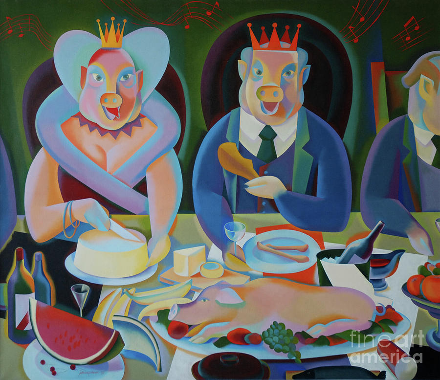Figurative Painting - The Bourgeoisie by Jukka Nopsanen