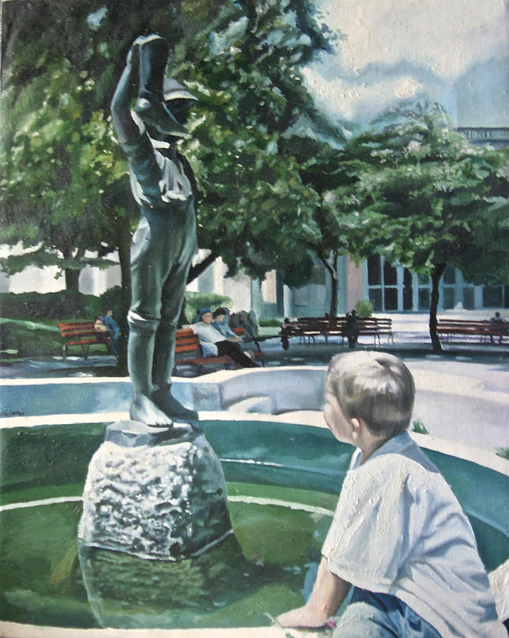 The Boy And The Boy Of The Fountain Painting by Antonio Molina