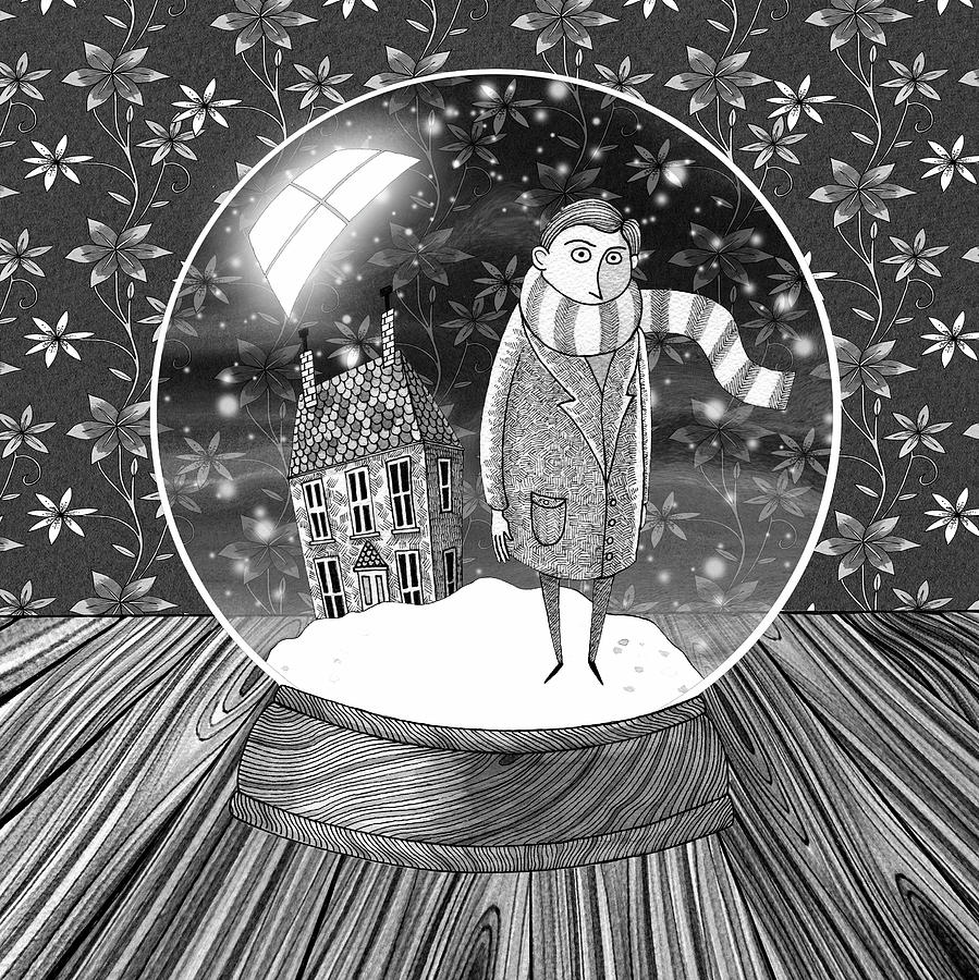 Boy Drawing The Boy In The Snow Globe By Andrew Hitchen