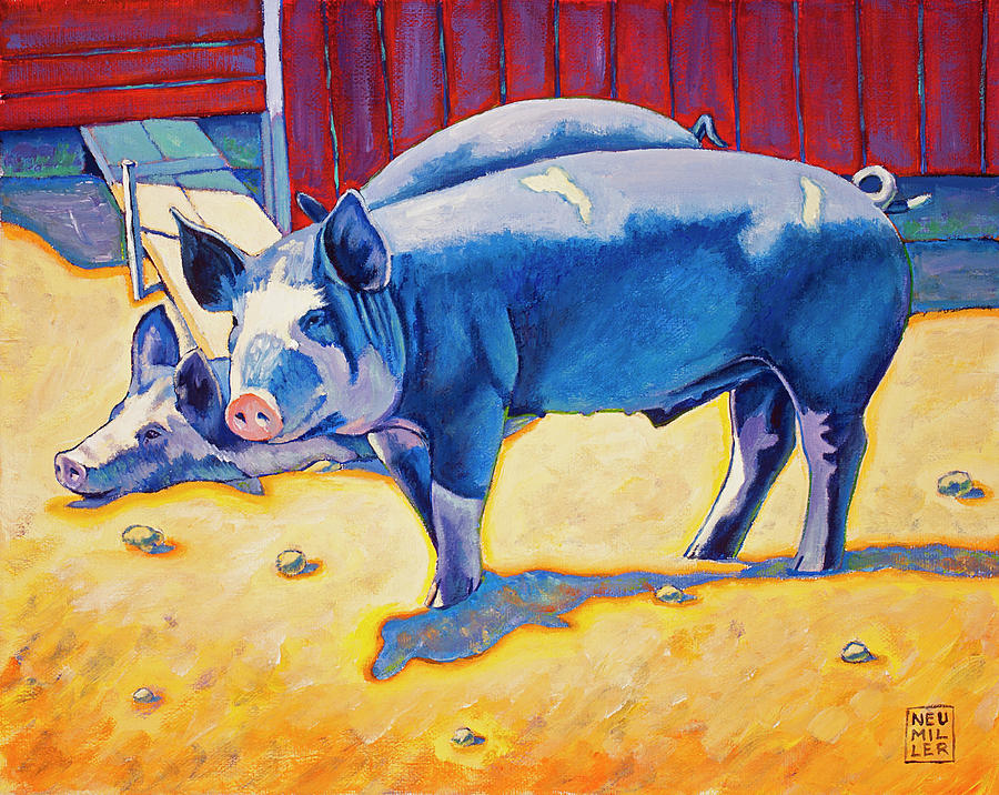 Pig Painting - The Break Room by Stacey Neumiller