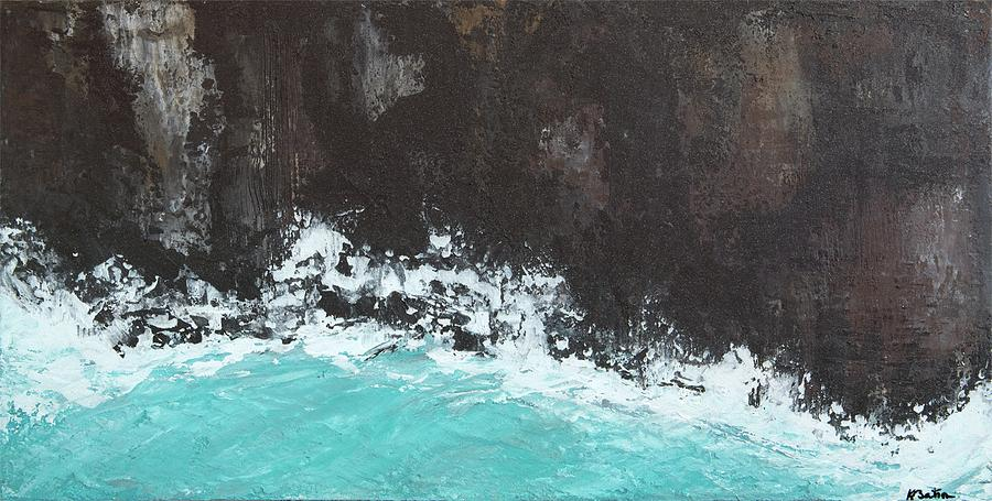 Turquoise Painting - The Breaks by K Batson Art