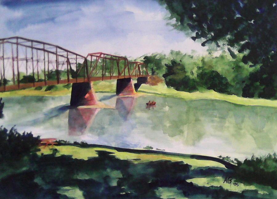 Bridge Painting - The Bridge At Ft. Benton by Andrew Gillette