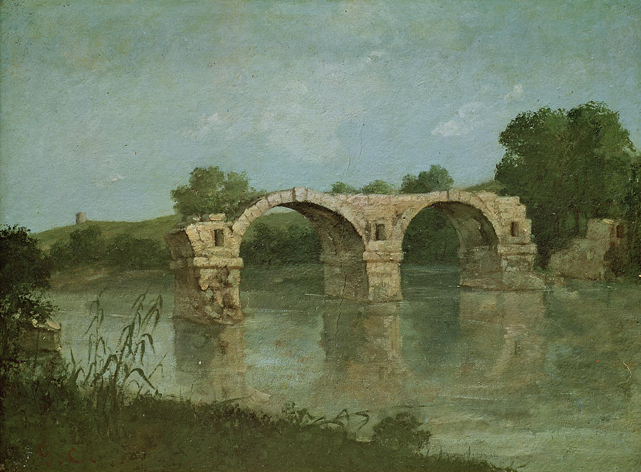 The Painting - The Bridge At Ambrussum by Gustave Courbet
