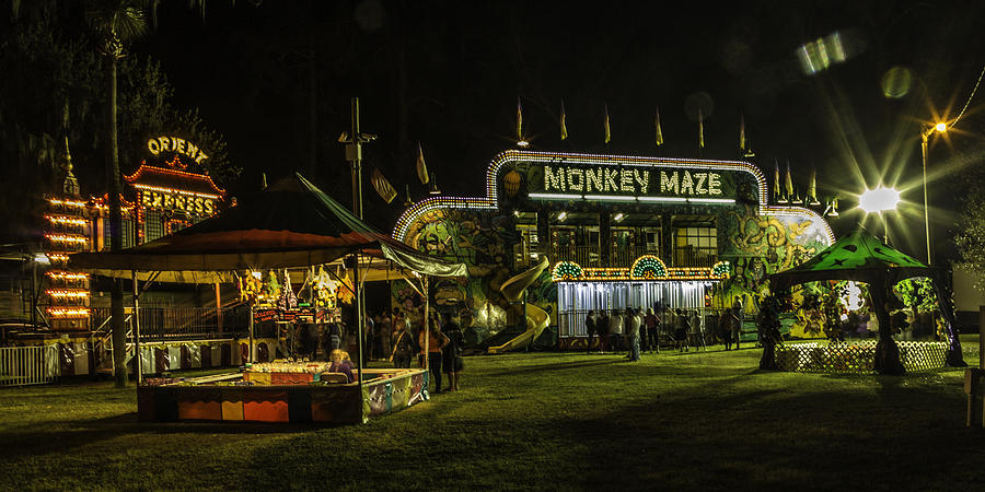 The Face Of God Photograph - The Bright Carnival Night Lights by Paula Porterfield-Izzo