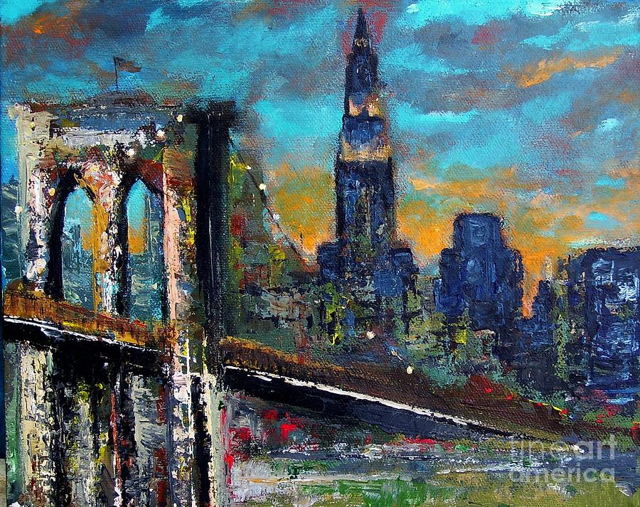 Bridges Painting - The Brooklyn Bridge by Frances Marino